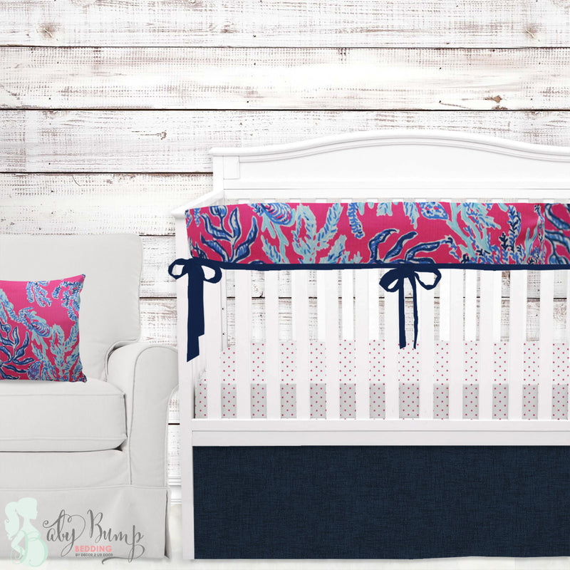 Lilly Pink & Blue Corals Baby Crib Rail Cover