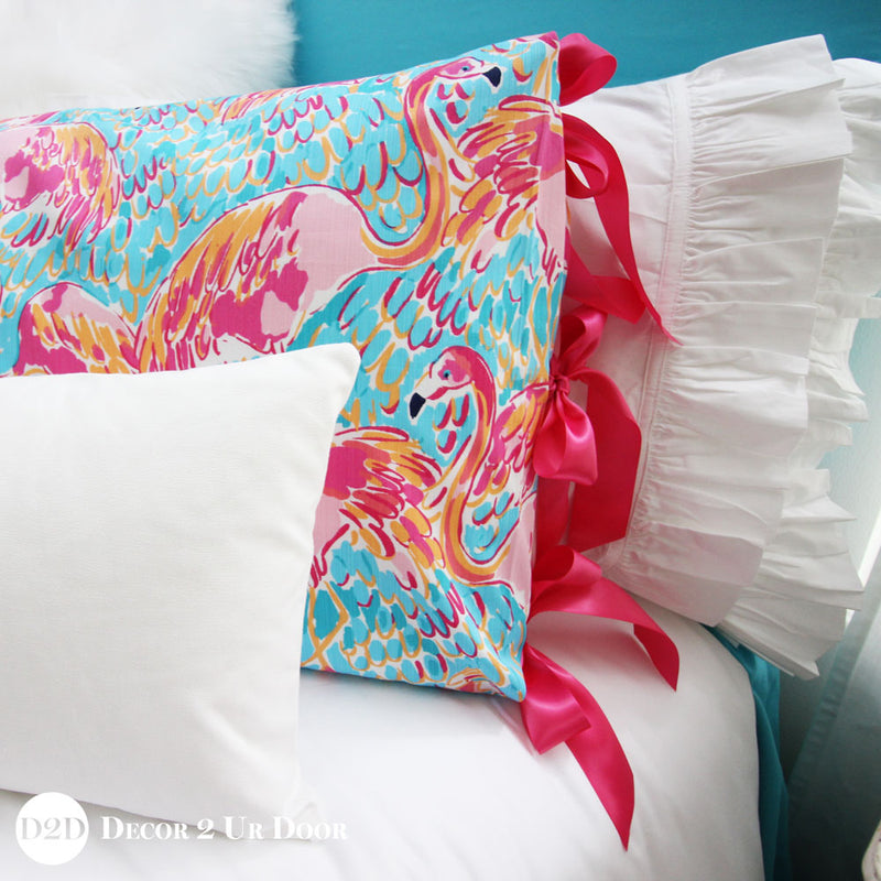 Lilly Flamingo Sham with Ribbon Ties