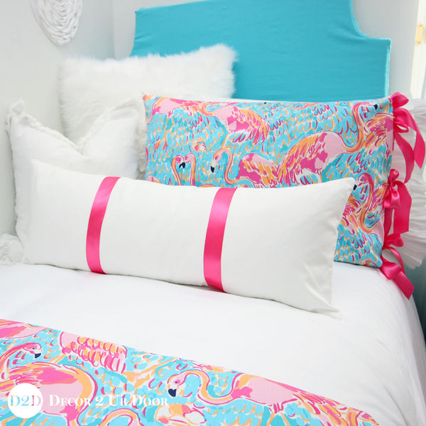 White & Hot Pink Grosgrain Ribbon Long Lumbar Pillow Cover