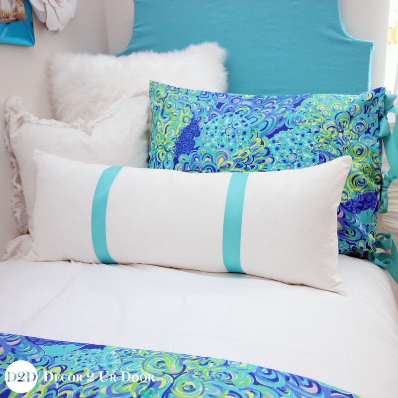 White & Teal Grosgrain Ribbon Long Lumbar Pillow Cover