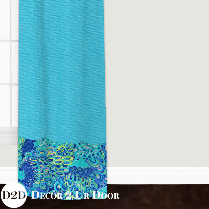 Lilly Peacock Print Closet + Window Curtain