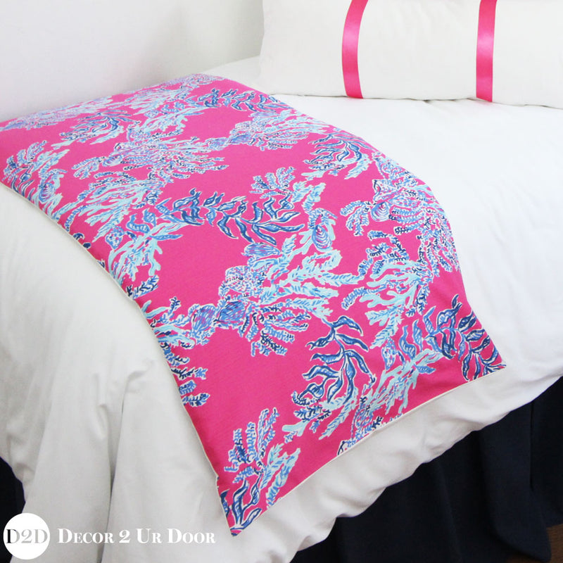 Lilly Pink & Blue Corals Bed Scarf