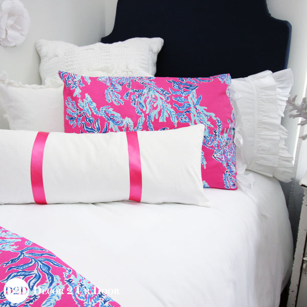 Lilly Pink & Blue Corals Designer Bedding Collection