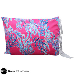 Lilly Pink & Blue Corals Sham with Ribbon Ties