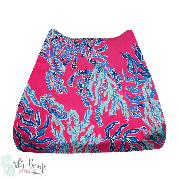 Lilly Pink & Blue Corals Baby Changing Pad Cover