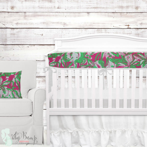 Lilly Pink & Green Elephant Baby Girl Crib Bedding Set