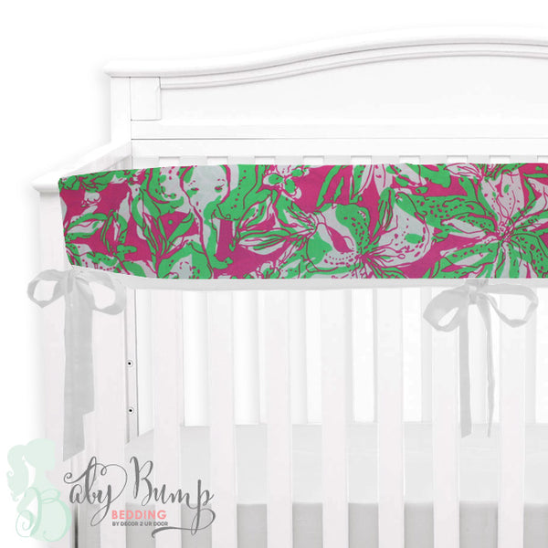 Lilly Pink & Green Elephant Baby Crib Rail Cover