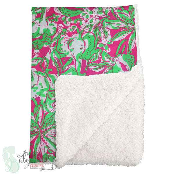 Lilly Pink & Green Elephants Sherpa Baby Blanket