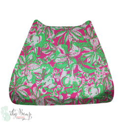 Lilly Pink & Green Elephants Baby Changing Pad Cover