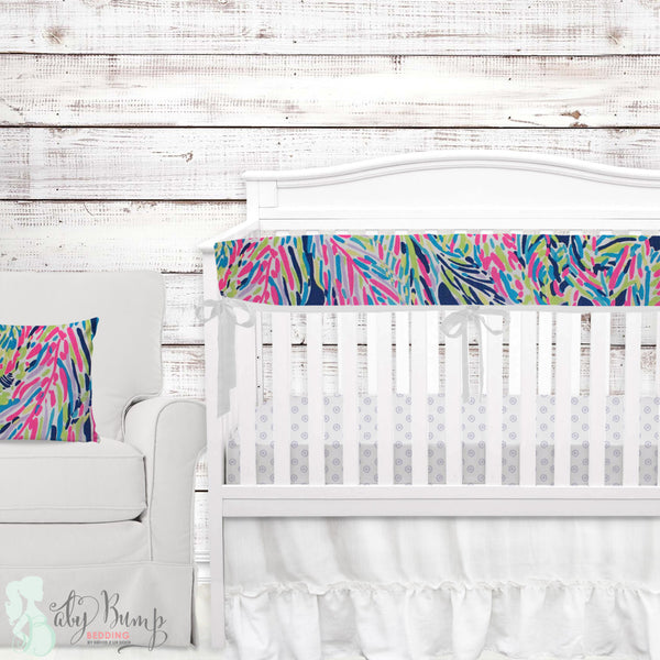 Lilly Multicolor Feathers Baby Girl Crib Bedding Set