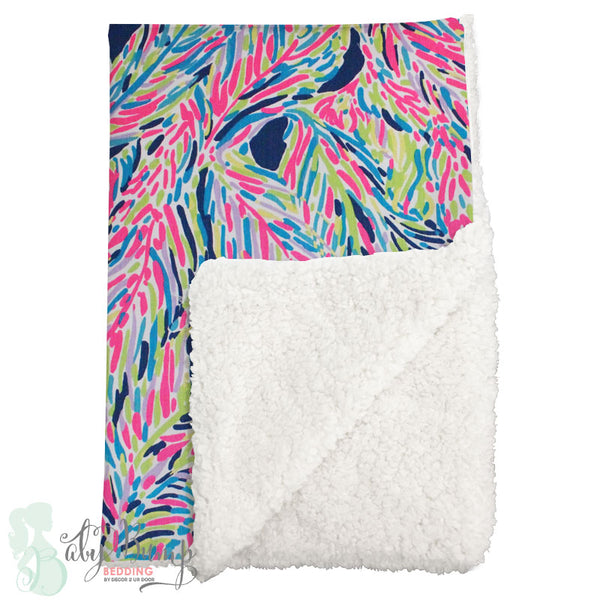 Lilly Multicolor Feathers Sherpa Baby Blanket