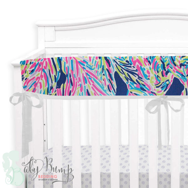 Lilly Multicolor Feathers Baby Crib Rail Cover