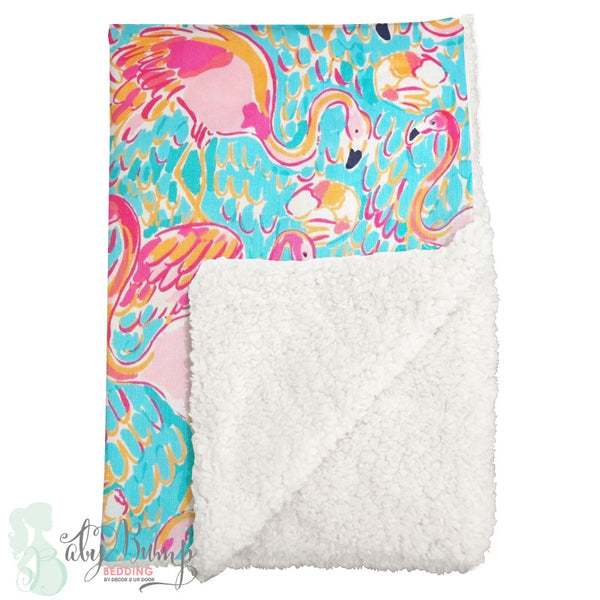 Lilly Flamingo Sherpa Baby Blanket