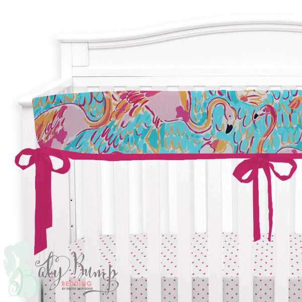 Lilly Flamingo Baby Crib Rail Cover