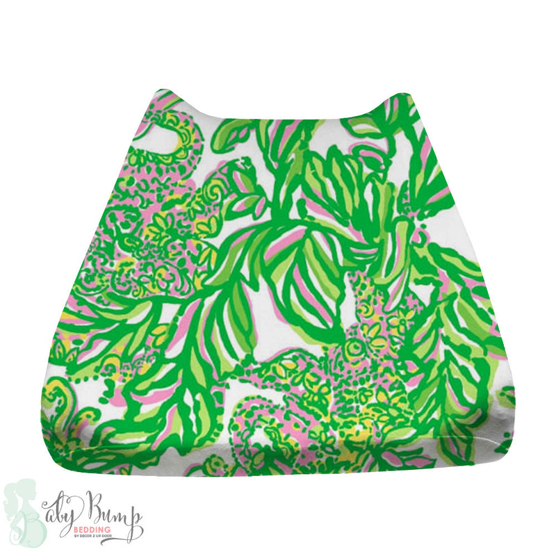 Lilly Pink & Green Monkeys Baby Changing Pad Cover