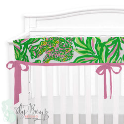 Lilly Pink & Green Monkeys Baby Crib Rail Cover