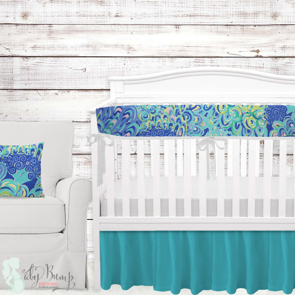 Lilly Peacock Baby Crib Rail Cover