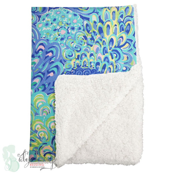 Lilly Peacock Sherpa Baby Blanket