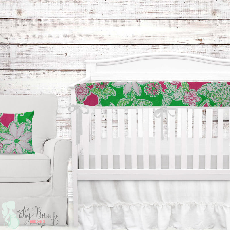 Lilly Pink, Green & White Flowers Baby Crib Rail Cover