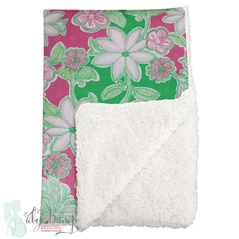 Lilly Pink, Green & White Flowers Sherpa Baby Blanket