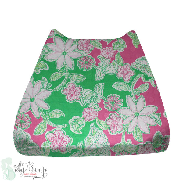 Lilly Pink, Green & White Flowers Baby Changing Pad Cover