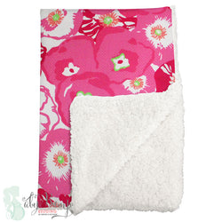 Pink & Green Flower Pop Poppy Sherpa Baby Blanket