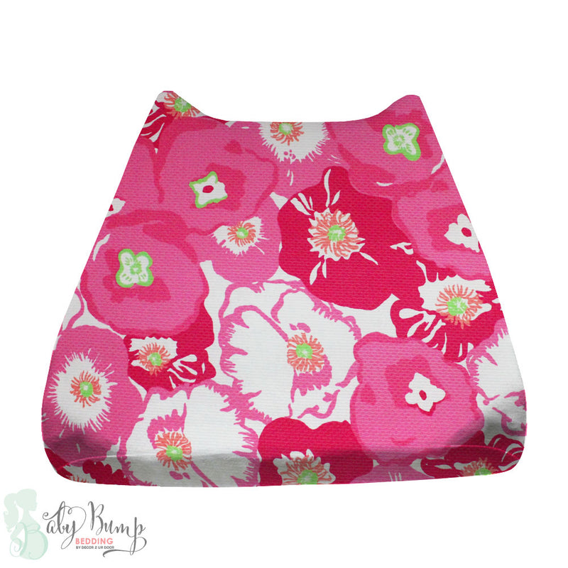 Lilly Pink & Green Flower Pop Poppy Baby Changing Pad Cover