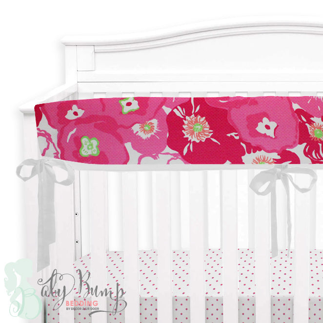 Lilly Pink & Green Flower Pop Poppy Baby Crib Rail Cover