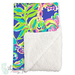 Lilly Multicolor Toucan Sherpa Baby Blanket