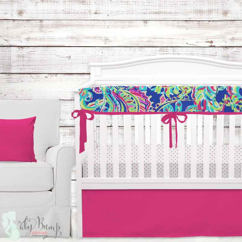 Solid Hot Pink & Mandarin Blue Baby Crib Skirt