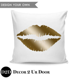 Lips Silhouette Square Pillow Cover