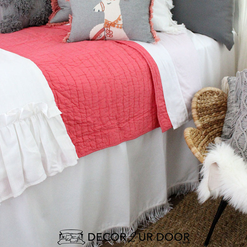 White Fringe Extra Long Dorm Bed Skirt
