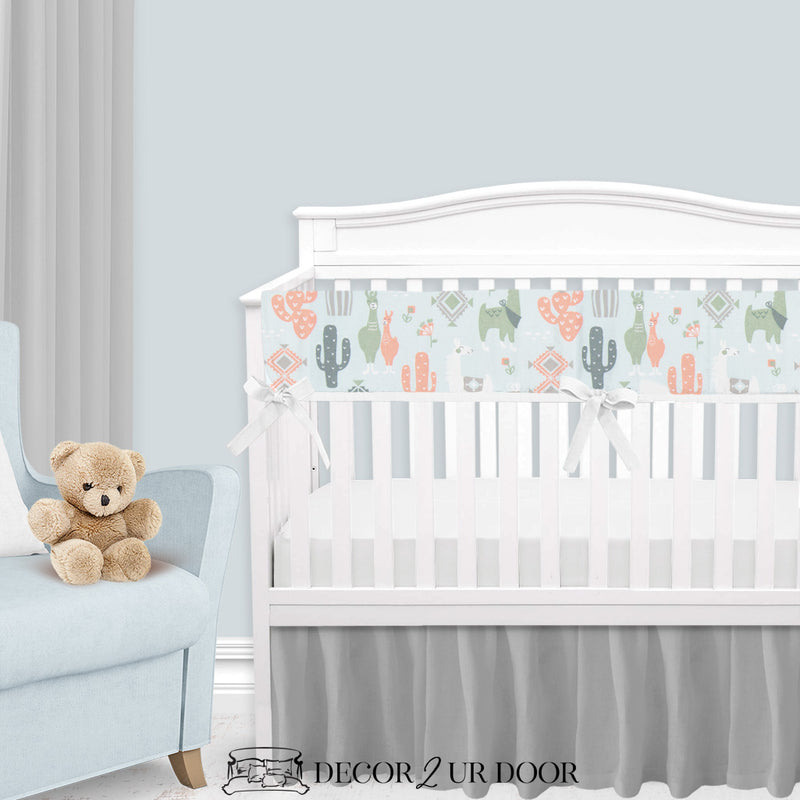 Blue, Peach & Green Little Llama Baby Boy Crib Bedding Set