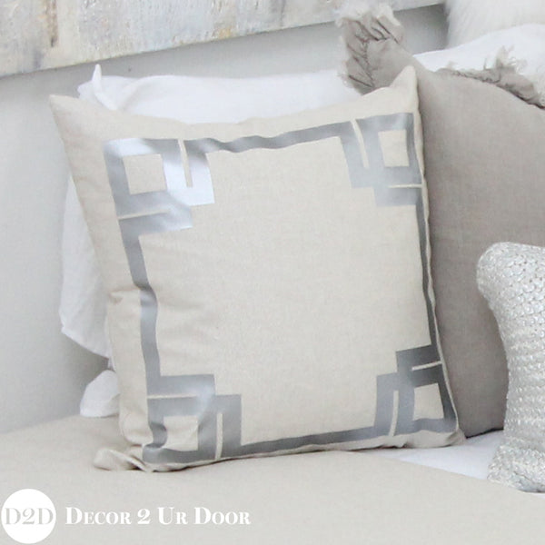 Metallic Silver Specks Greek Key Square Pillow Cover