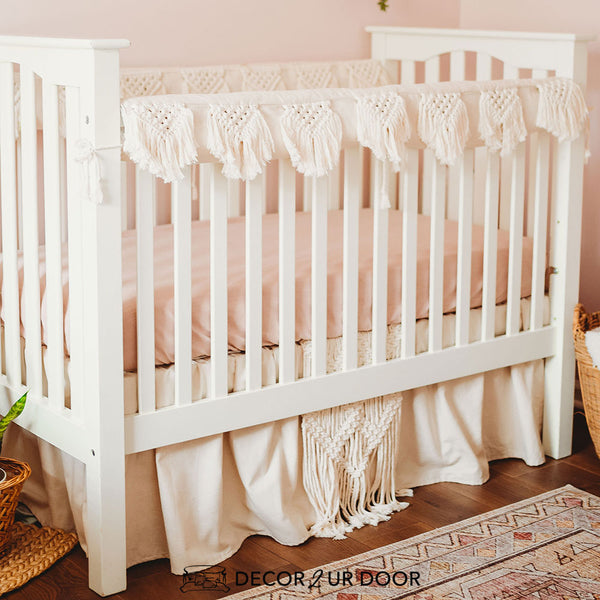 Natural & Blush Pink Macrame Baby Girl Crib Bedding Set