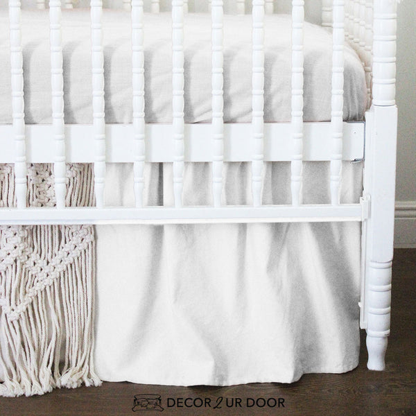 White & Natural Macrame Baby Crib Skirt