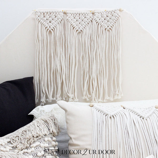 Natural Macrame Padded Fabric Headboard