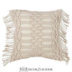 Natural Macrame Fringe Square Pillow Cover