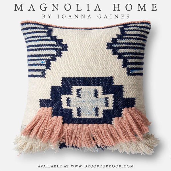 Magnolia Home Ward Pillow Cover in Pink/Navy