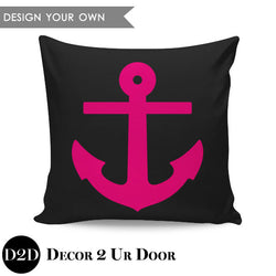 Anchor Silhouette Square Pillow Cover