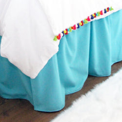 Solid Mandarin Blue Extra Long Dorm Bed Skirt