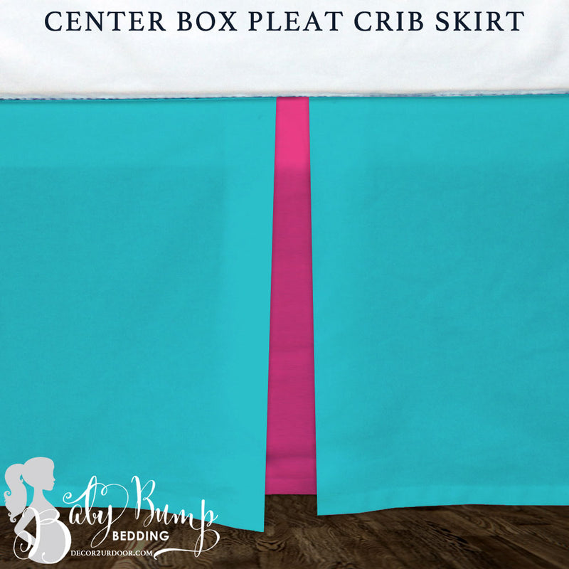 Solid Mandarin Blue & Hot Pink Baby Crib Skirt