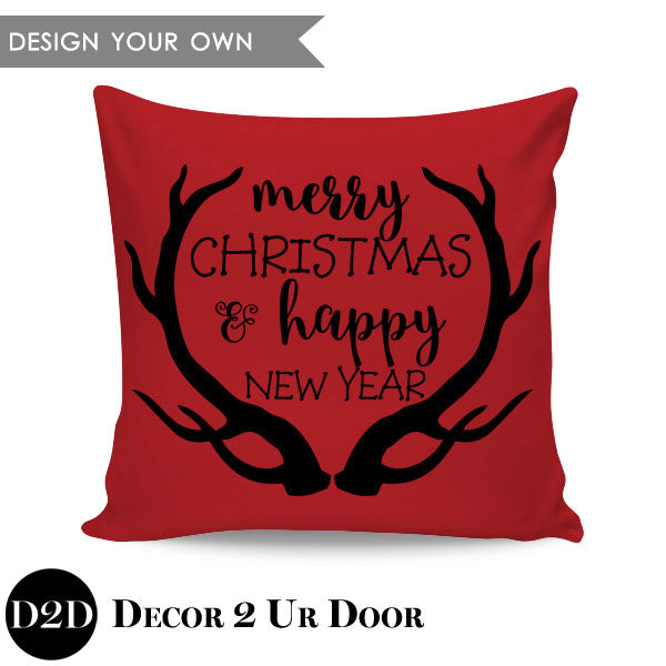 Merry Christmas & Happy New Year Square Throw Pillow Cover