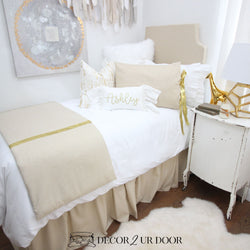 Metallic Gold Speck Dorm Bedding Set