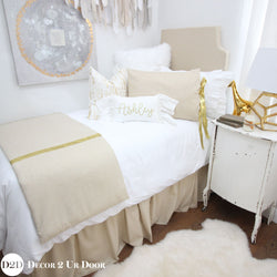 Metallic Gold Speck Dorm Bed Skirt & Headboard Bundle