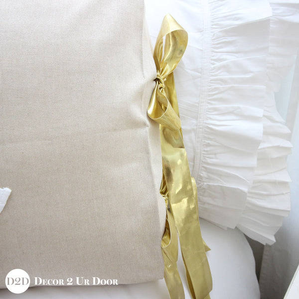 Tan & Metallic Gold Specks Sham with Gold Ribbon Ties