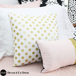 Metallic Gold Polka Dots Square Pillow Cover