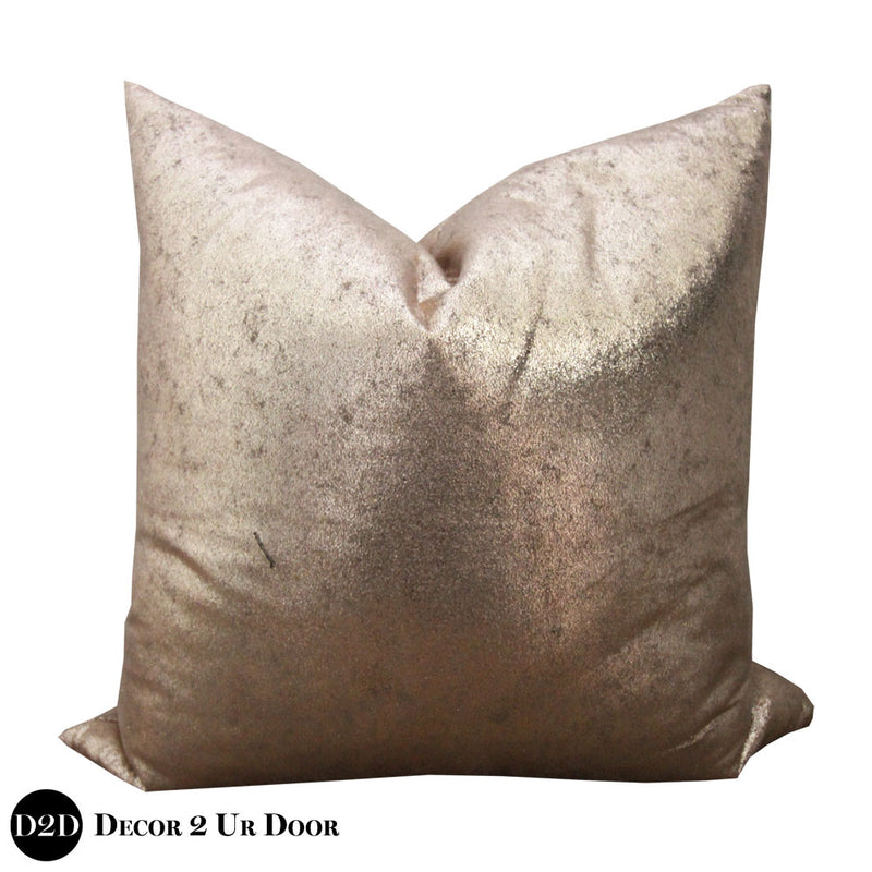 Metallic Rose Gold Square Pillow Cover