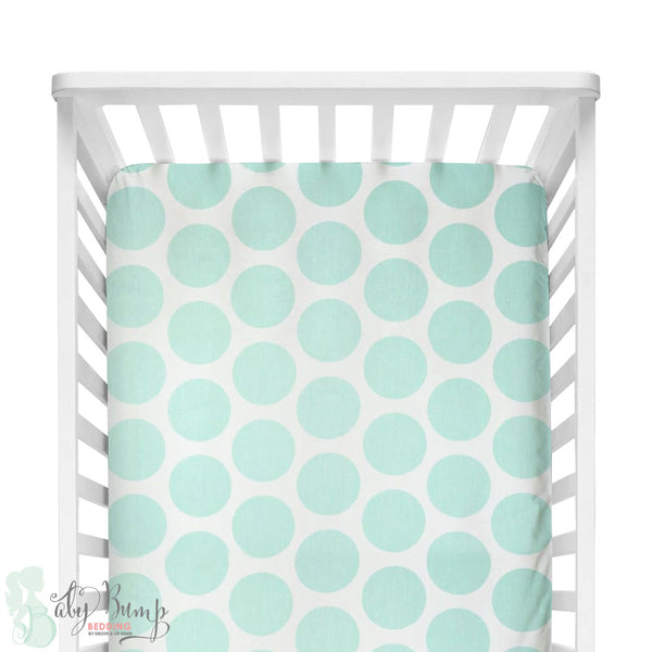 Mint Large Dots Fitted Crib Sheet