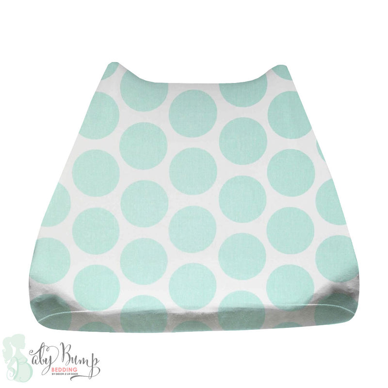 White & Mint Large Dots Baby Changing Pad Cover